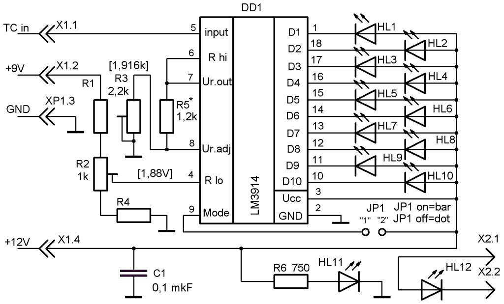 Схема индикатора температуры