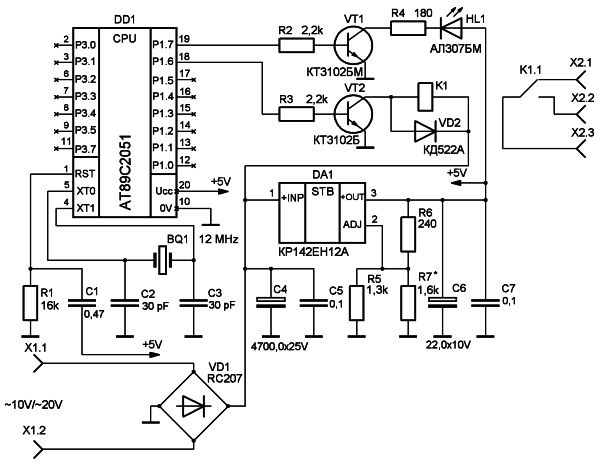 Электрическая схема для мотора