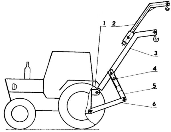 Схема размещения подъемника на тракторе МТЗ-80: 1 - кронштейн центральной тяги тракторной навески; 2...