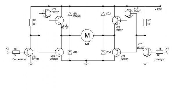 схемы подключения двигателя с помощью транзисторов.  Эту схему я нарисовал в микрокапе, может есть проще.
