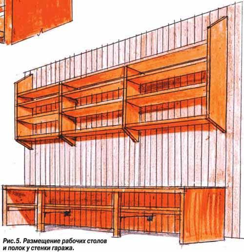 Размещение столов и полок у стенки гаража.
