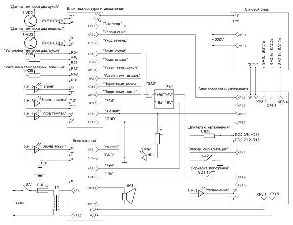 Рис. 2. Схема электрическая инкубатора А-120Б.  Вся схема блока управления (рис. 2) разбита следующим образом: U1, U2...