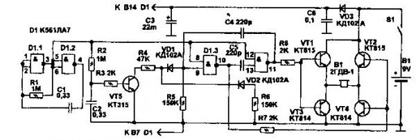 Имеет громкое звучание и управляется посредством кнопки.  Схема устройства изображена выше.  Состоит из двух.