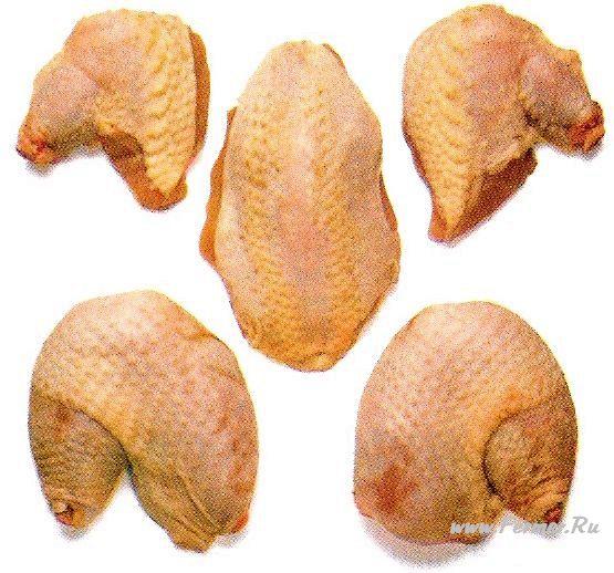 Грудку более крупной курицы