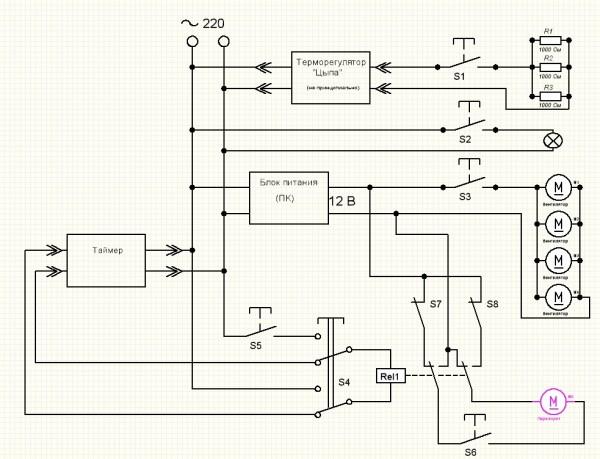 А вот начертил схему электрическую принципиальную.  S1 - Выключатель.  Предназначен для подачи питания на...