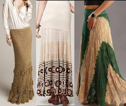 Вязание крючок юбка длинная 781