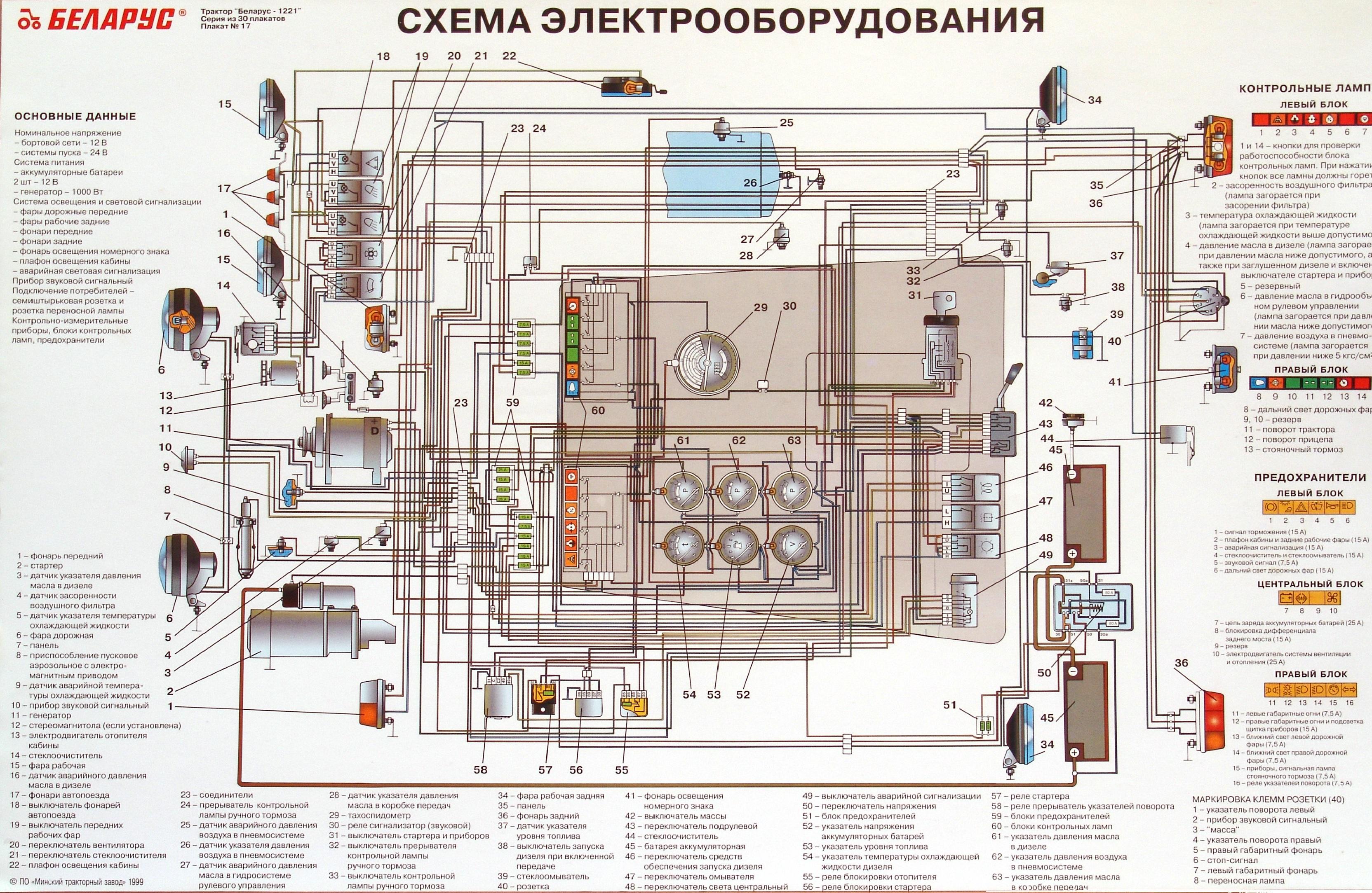 СХЕМА ЭЛЕКТРООБОРУДОВАНИЯ ТРАКТОРА МТЗ-80, МТЗ-82.