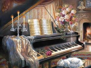 у пианино